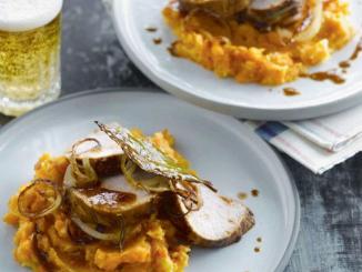 Rôti de porc sauce barbecue à la bière purée de carottes et pommes de terre