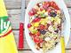 Salade d'ebly aux tomates poivrons mozzarella et olives noires