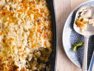 Recette Gratin de risotto au poulet champignon et parmesan