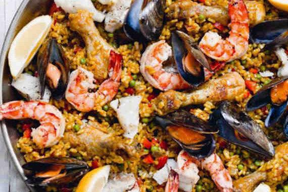 Recette Paella aux fruits de mer, poulet et citron